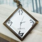 Retro Brass Square Pocket Watch Pendant Necklace