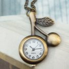 Retro Brass Chery Pocket Watch Pendant Necklace