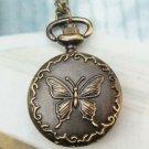 Retro Brass Butterfly Locket Pocket Watch Pendant Necklace