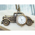 Retro Brass Car Pocket Watch Pendant Necklace