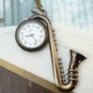 Retro Brass Sax Pocket Watch Pendant Necklace