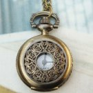 Retro Brass Fillagree Locket Pocket Watch Pendant Necklace