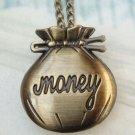 Retro Brass Money Bag Locket Pocket Watch Pendant Necklace