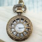 Retro Brass Wheel Locket Pocket Watch Pendant Necklace