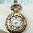 Retro Brass Flower Window Locket Pocket Watch Pendant Necklace