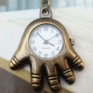 Retro Brass Hand Pocket Watch Pendant Necklace