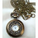 Retro Brass Window Frame Pocket Watch Locket Pendant Necklace
