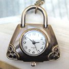 Retro Brass Handbag Pocket Watch Pendant Necklace
