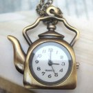 Retro Brass Teapot Pocket Watch Pendant Necklace