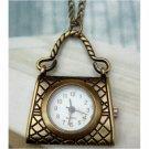 Retro Brass Handbag Pocket Watch Pendant Necklace