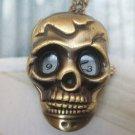 Retro Brass Skull Pocket Watch Locket Pendant Necklace