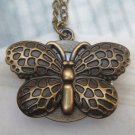 Retro Brass Butterfly Pocket Watch Locket Pendant Necklace