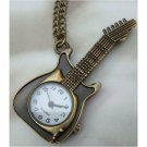 Retro Brass Guitar Pocket Watch Pendant Necklace