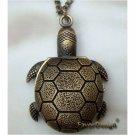 Retro Copper Tortoise Pocket Watch Necklace Pendant VINTAGE Style