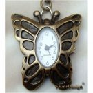 Pretty Retro Copper Butterfly Pocket Watch Necklace VINTAGE Style