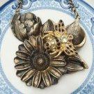 Steampunk Original Design Flower Bee Vinatge Style Necklace