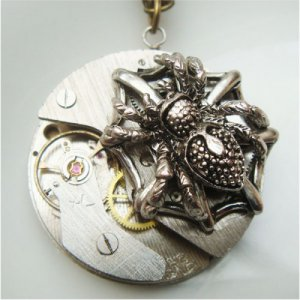 Steampunk Spider Watch Movement Pendant Necklace