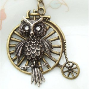Steampunk Original Design Owl with Old Bike Brass Necklace
