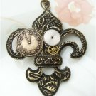 Steampunk Original Design Fleur De Lis Mechanical Wheel Brass Necklace