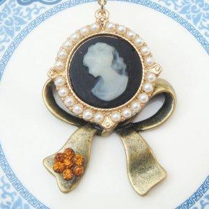 Steampunk Original Design Cameo Bowtie Locket Brass Necklace