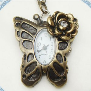 Steampunk Original Design Flower Butterfly Pocket Watch Necklace