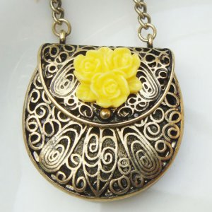 Steampunk Original Design Handbag Locket Brass Necklace