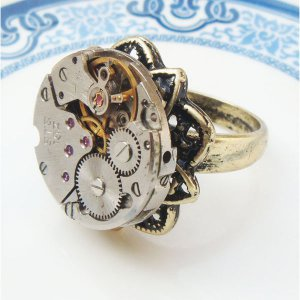 Size 7.8 Steampunk Vintage Watch Movement Ring