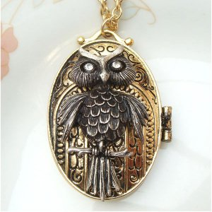 Steampunk Original Design Owl Locket Brass Necklace