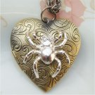 Steampunk Spider Heart Locket Pendant Necklace