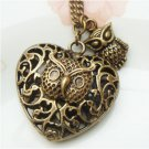 Steampunk Original Design Owl Heart Brass Necklace