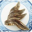 Size 7.8 Antique Brass Leaf Ring Vintage Style