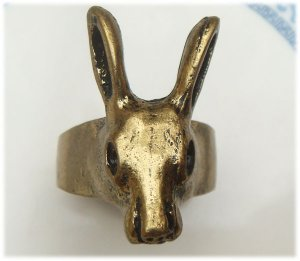 Size 7.0 Antique Brass Rabbit Ring Vintage Style