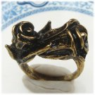 Size 6.6 Antique Brass Flower Ring Vintage Style