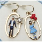 Gold Plated Brass Man and Woman Earrings Vintage Style