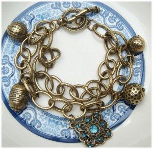Antiqued Brass Charm Bracelet Vintage Style