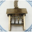 Antiqued Brass Swing Necklace Pendant Vintage Style