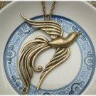 Antiqued Brass Phoenix Necklace Pendant Vintage Style