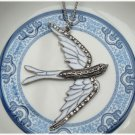 Large Silver Plated Brass Swallow Necklace Pendant Vintage Style