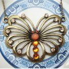 Antiqued Brass Butterfly Necklace Pendant Vintage Style