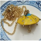 Gold Plated Brass Umbrella Necklace Pendant Vintage Style