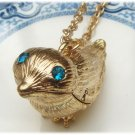 Gold Plated Brass Bird Locket Necklace Pendant Vintage Style