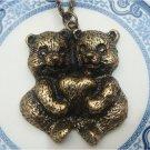 Antique Brass Bear Necklace Pendant Vintage Style