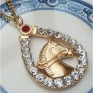 Gold Plated Brass Horse Necklace Pendant Vintage Style