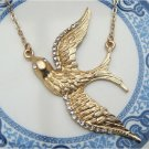 Gold Plated Brass Swallow Necklace Pendant Vintage Style