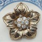 Gold Plated Brass Flower Pin Brooch