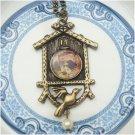 Antique Brass Bird Cage Necklace Pendant Vintage Style