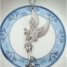 Silver Plated Brass Angel Necklace Pendant Vintage Style