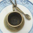 Antique Brass Teapot Spoon Necklace Pendant Vintage Style