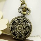 Antiqued Brass Vintage Style  Classic Pocket Watch Necklace Classic Carving Flos Daturae