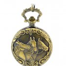 Antiqued Brass Vintage Style  Classic Noble Horse Pocket Watch Necklace